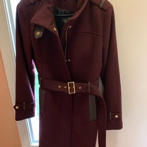 Cole Haan aubergine wool and leather coat